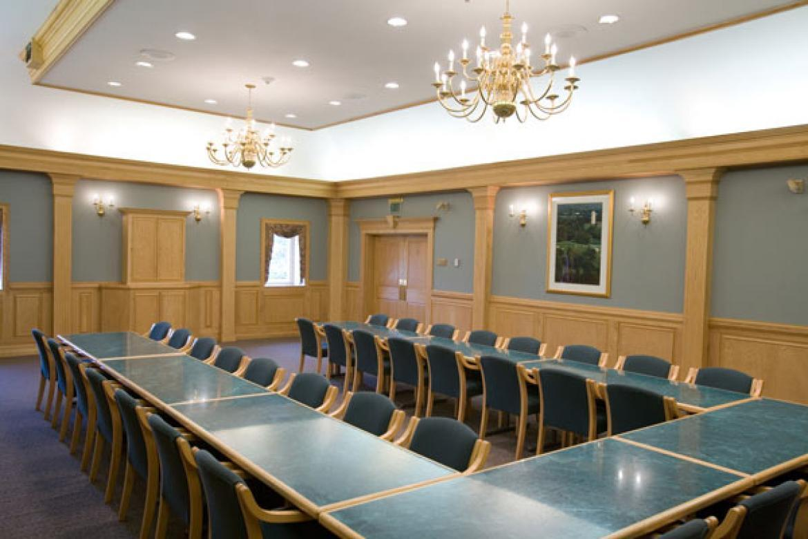 Weldon suite meeting room empty long tables with chairs